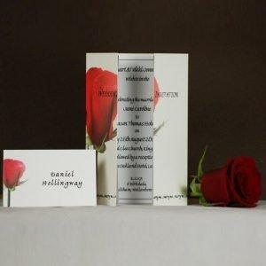 Single Red Rose 1 Wedding Stationery