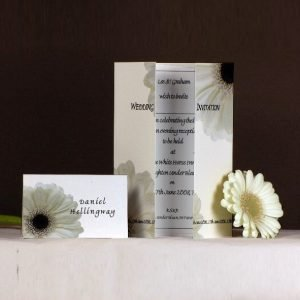 White Gerbera Wedding Stationery