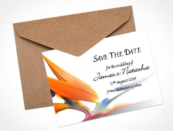 bird of paradise save the date card