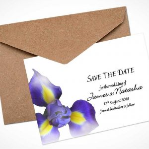 blue iris save the date card