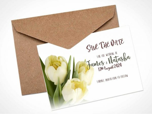 cream tulips save the date card