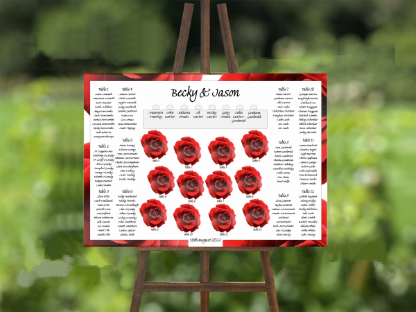 double red rose wedding table plan