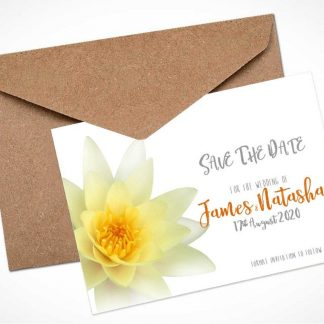 gold waterlily save the date card