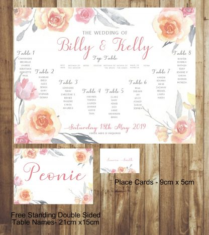 Grey and pink wedding table plan