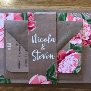 kraft card and peony wedding invitation 2