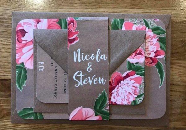 kraft card and peony wedding invitation 2
