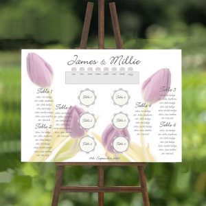 Lilac Tulips Wedding Table/ Seating Plan
