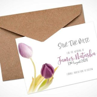 lilac tulips save the date card