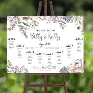 Lilac and Pink Flowers Wedding Table Plan