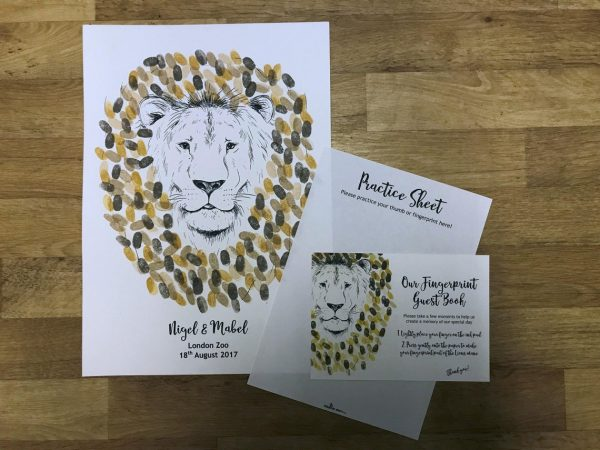 Wedding Lion Fingerprint Guest Book