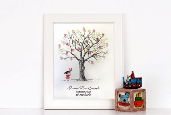 Little Girl Fingerprint Tree- Christening, Naming Day, Baptism