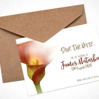 mango calla lily save the date card
