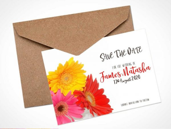 mixed gerbera save the date card