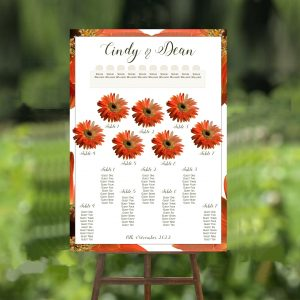 orange gerbera wedding table plan