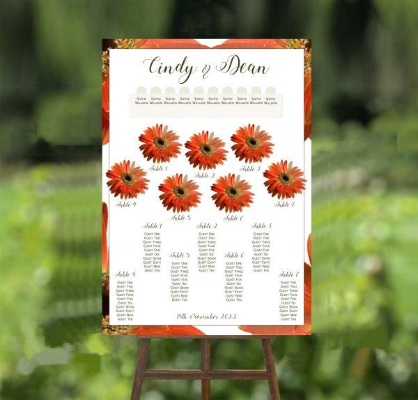 orange gerbera wedding table plan