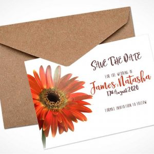 orange gerbera save the date card