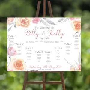 Grey & Pink Flowers Wedding Stationery