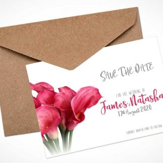 pink calla lily bouquet save the date card