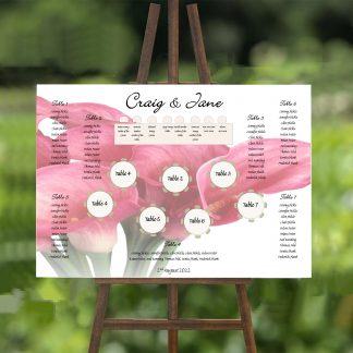 pink calla lily bouquet wedding table plan