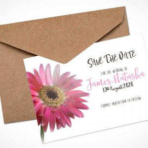 pink gerbera save the date card