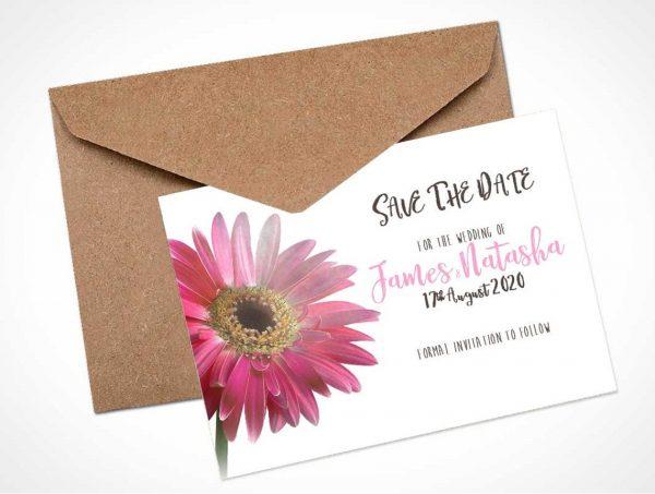 pink gerbera save the date card