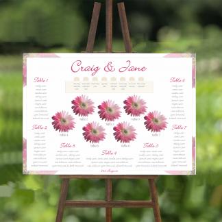 pink gerbera wedding table plan 2