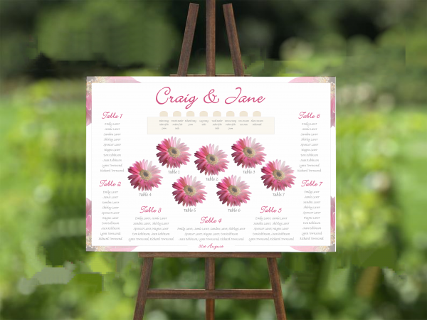 pink gerbera wedding table plan 2