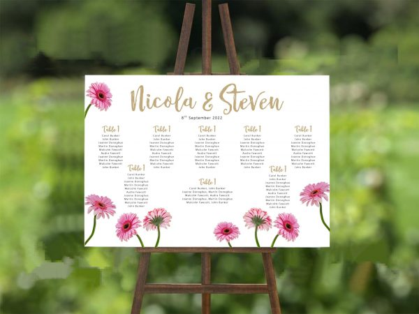 pink gerbera wedding table plan