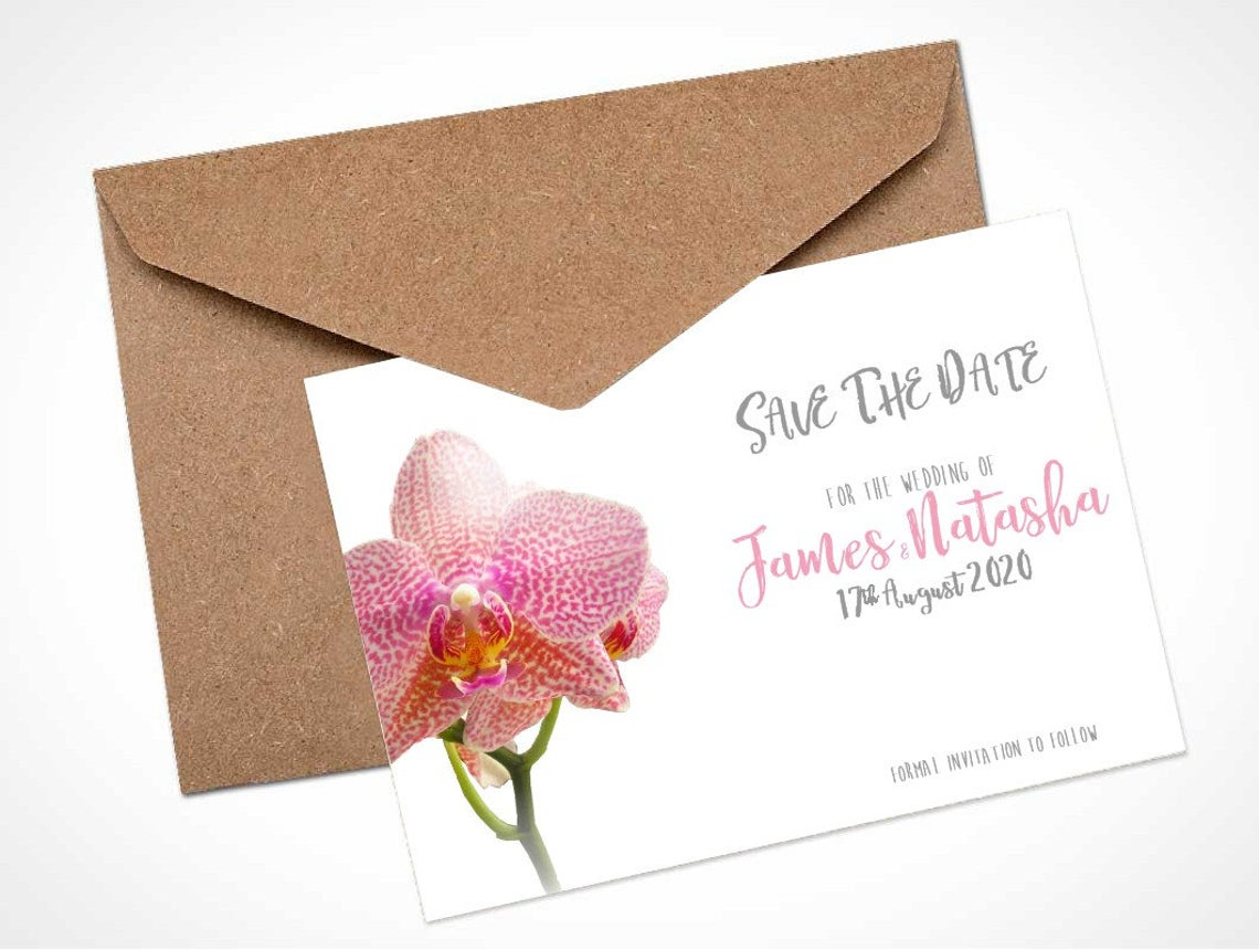 Pink Orchid Save The Date Card / Magnet