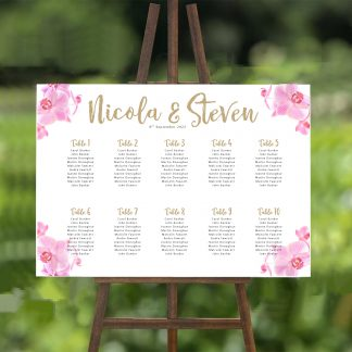 pink orchid wedding table plan 2