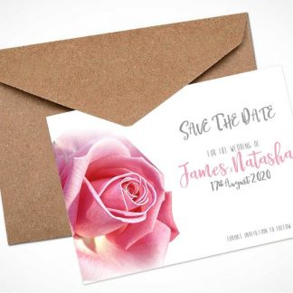 Pink Rose Save The Date Card / Magnet