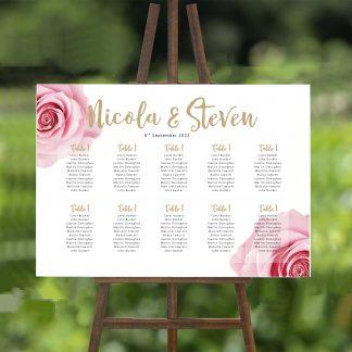 pink rose wedding table plan