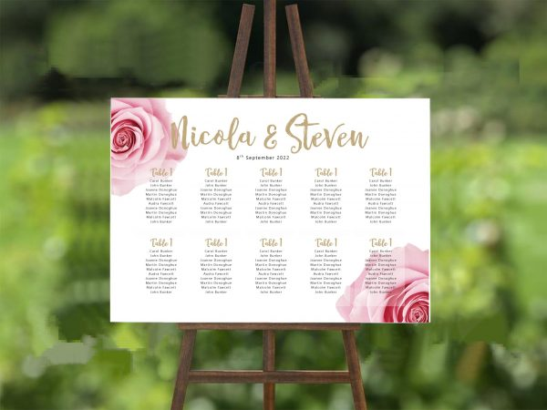 pink rose wedding table plan