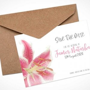 Pink Stargazer Lily Save The Date Card / Magnet