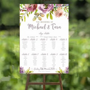 Purple Peony Wedding Table Plan