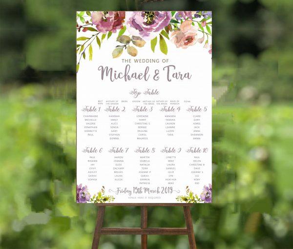 Purple Peony Wedding Table Plan