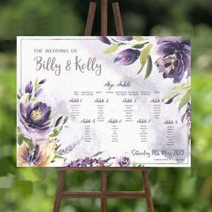 purple watercolour table plan