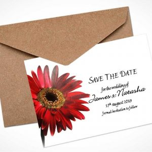 red gerbera save the date card