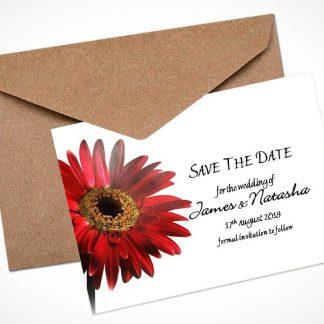red gerbera save the date card