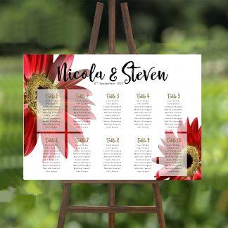 red gerbera wedding table plan 2