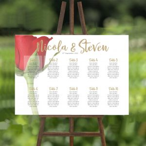 Red Rose Bud 2 Wedding Table/ Seating Plan