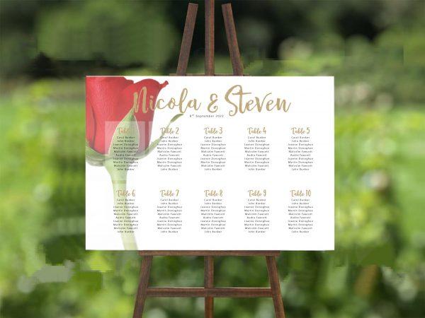 Red Rose Bud 2 Wedding Table/ Seating Plan