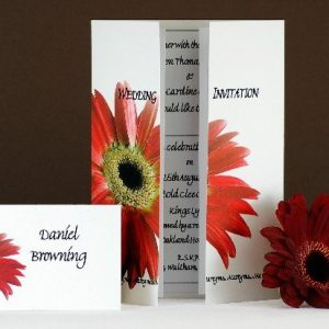 Red Gerbera Wedding Stationery
