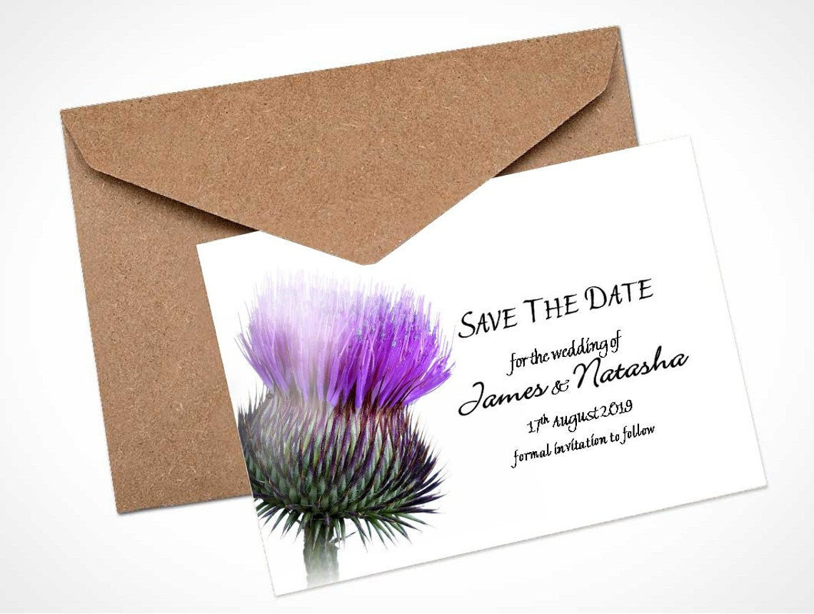 Scottish Thistle Save The Date Card / Magnet