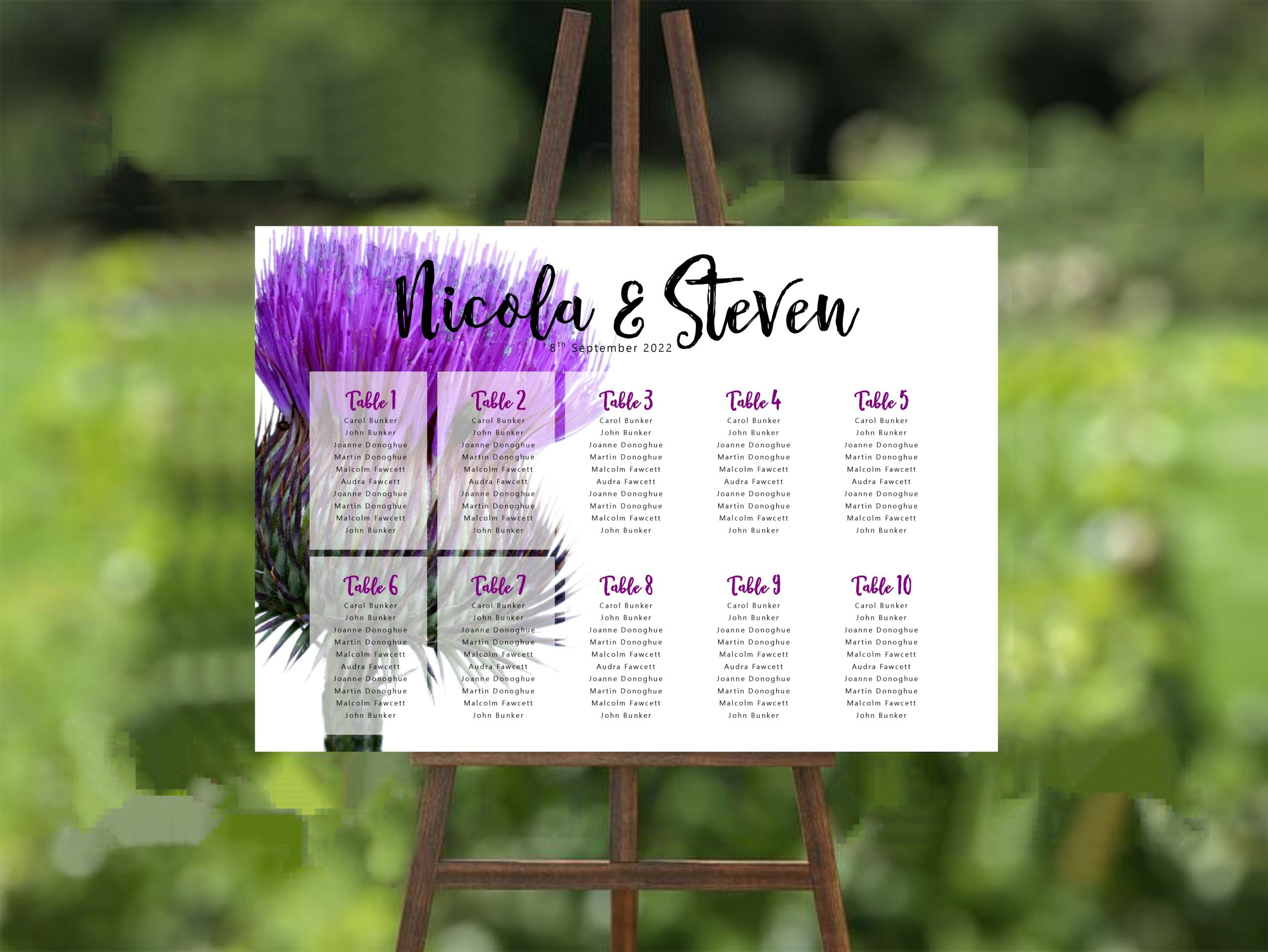 Scottish Thistle Wedding Table Plan