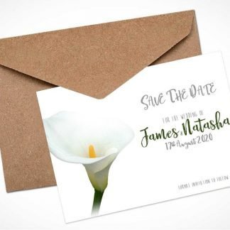 Single White Calla Lily Save The Date Card / Magnet
