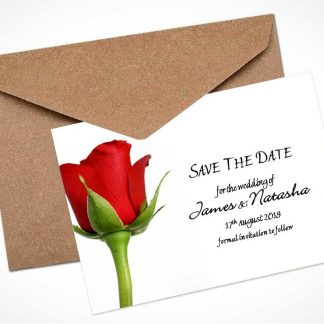Single Red Rose 2 Save The Date Card / Magnet