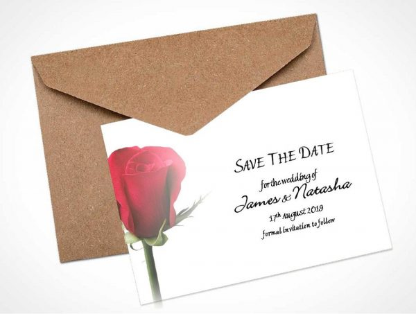 Single Red Rose 1 Save The Date Card / Magnet