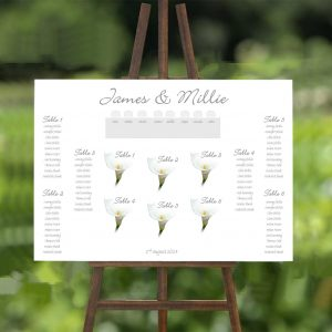 single white calla lily wedding table plan
