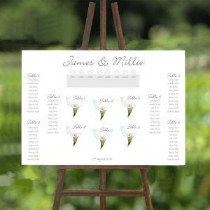 single white calla lily wedding table plan